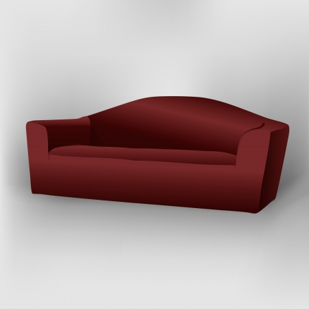 Dark red sofa with shadow Vector