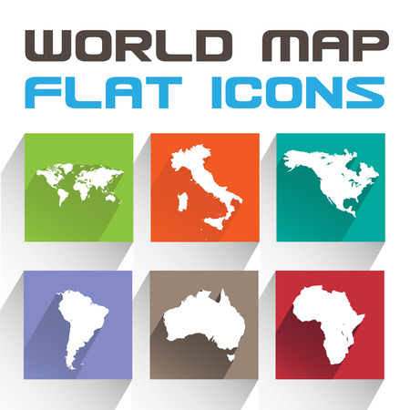 Application World map Icons Set in Flat Design with Long Shadows Illustration