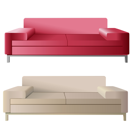 Beige and strawberry sofas Vector