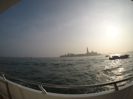 A beautiful horizon of the sea in Venice