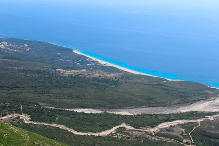 beautiful view of the azure sea. small village on the shores of the Mediterranean Sea