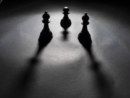 Image of two black bishops and a black pawn backlighting with black background