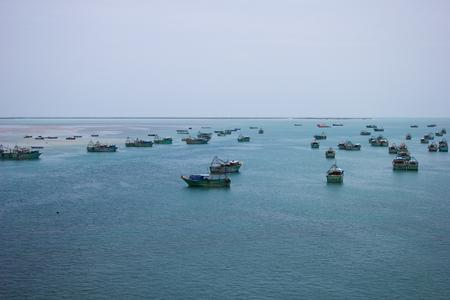 Fishing Boats Anchored at Sea