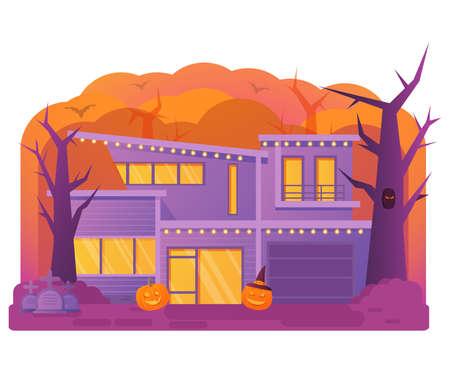 Halloween house. Old cemetery gravestone. Horror story.