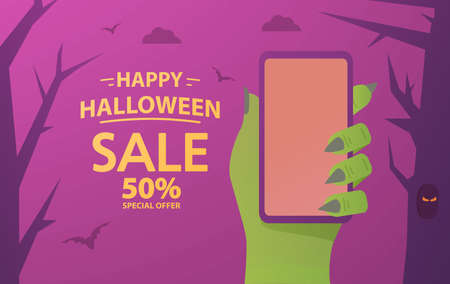 Green zombie hand holds smartphone. Halloween sale festive banner concept.
