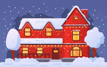 Christmas home facade decorated garland in snowfall.