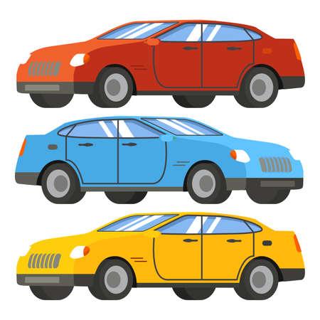 Set of cars in red, blue, yellow. Modern four-door sedan.