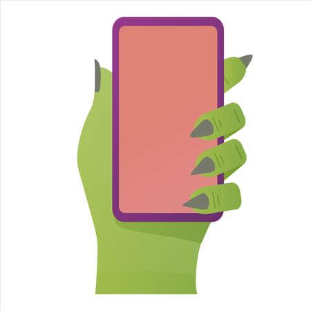 Halloween green zombie hand holds smartphone. Flat vector illustration.