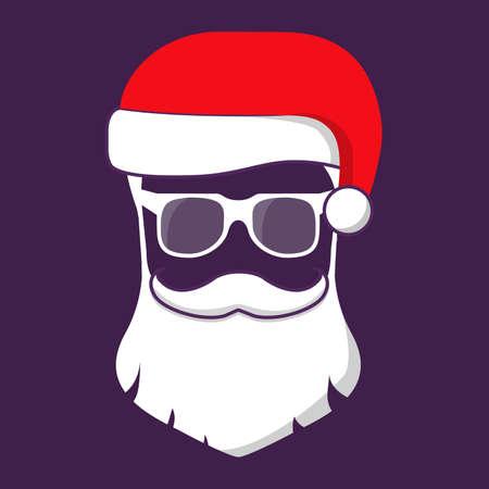 Santa claus hats, beard,moustache and glasses.Flat vector.