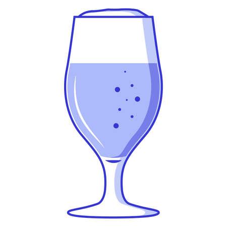 Beer glass. Alcoholic drink.Flat vector line art.