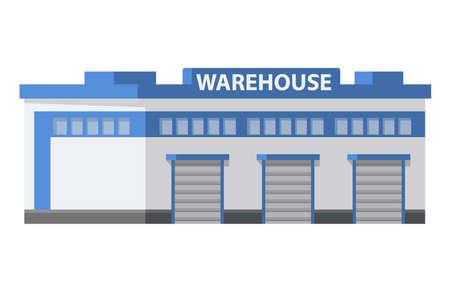 Warehouse commercial building loading docks. Storage center logistics. Vektorové ilustrace
