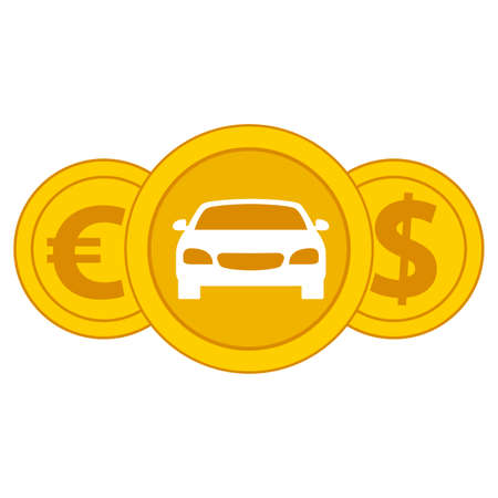 Car coin icon.Purchase payment money vehicle. Sign of euro and dollar.