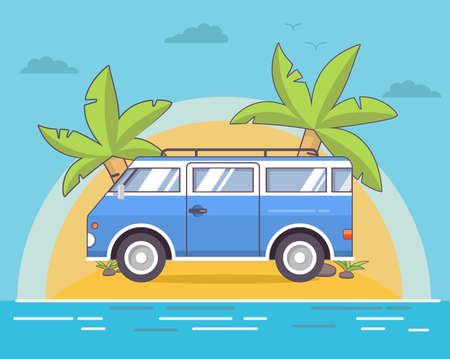 Summer sea landscape with the tropical island with palm trees and the sandy beach. Illusztráció