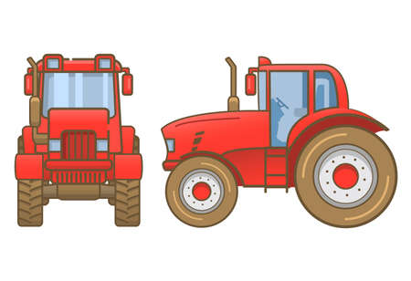 Tractor farm .Heavy agricultural vehicles machinery for field work of harvesting.