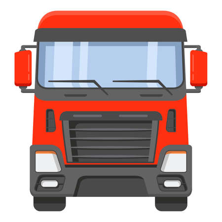 The front view on a cabin of the truck tractor.The truck of freight transportation company on cargo delivery.