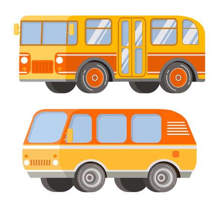 City passenger public transport. Retro vintage bus and tourist van. Illustration