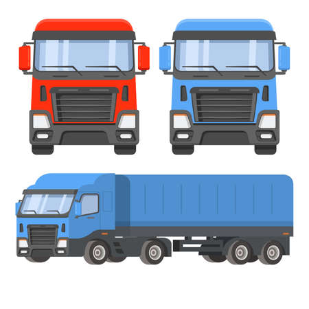 Semi-trailer truck. Front view and sideways. The vehicle cargo delivery logistics.
