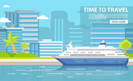 City landscape of the building skyscrapers. Port cruise passenger liner. Illustration