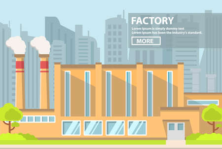 Industrial factory flat vector. Smoke pipes.industrial building concept.