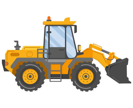Yellow bulldozer tractor. Construction machine. Manufacturing Equipment. Vetores
