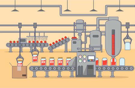 The factory automated conveyor shop on production of strawberry jam. Vektorgrafik