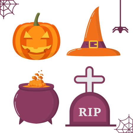 Halloween holiday symbols a cauldron of the witch with raging a potion, a lamp from pumpkin head jack smiling a mug, a tombstone.
