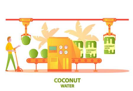 Conveyer belt factory green coconut water drink bottling in aluminum can.