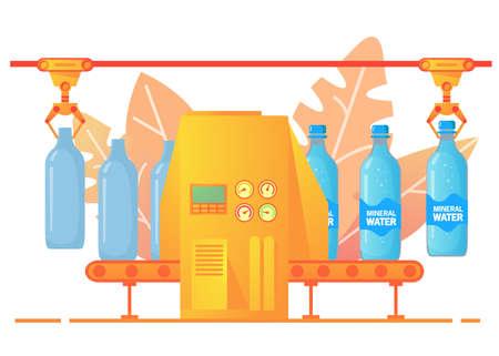 Packing conveyor soda. Sweet sparkling water. Flat illustration vector.