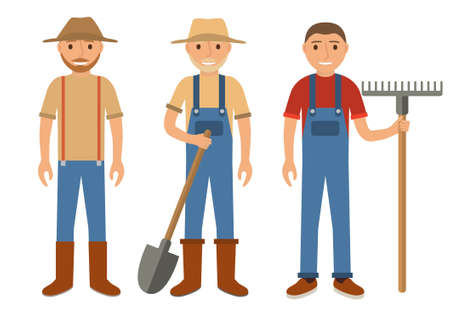 Set of farmers using agricultural tools.Set men Cartoon character the flat style.