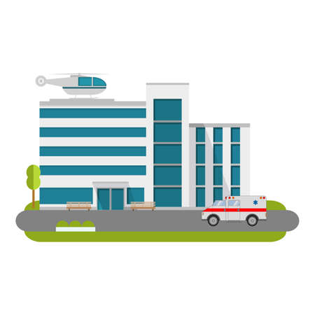 City hospital building with ambulance flat style and the car and the helicopter of medical care.