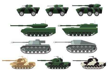 Big set a vector in flat style of military heavy machinery. Tanks in a desert, Vektoros illusztráció