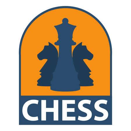 Icon of chess in strategy in flat style. Concept of design of an emblem for the websites, banners and infographic,chess companies.