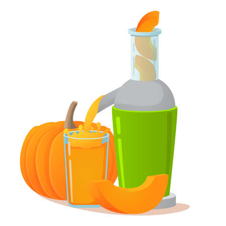 Electric juicer. Pumpkin fresh juice. A concept for vegetable healthy lifestyle for vegetarians and vegans.