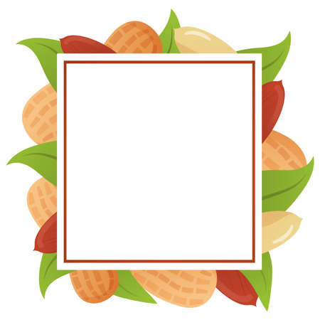 Template of a frame peanut banner with leaves .
