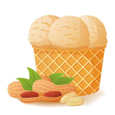 Nut ice cream peanut in waffle cones. Realistic illustration vector. Ilustração