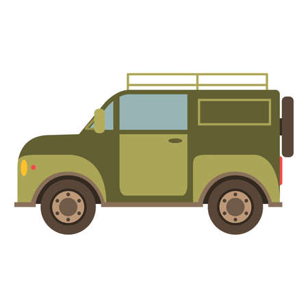 Off-road car suv in flat style a vector.The vehicle for trips and travel on the woods and bad roads.