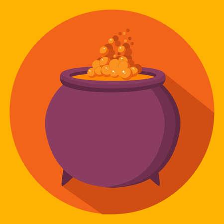 Halloween witch s cauldron icon. Bubbling potion.