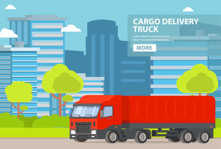 Truck freight transportation company on cargo delivery. Courier service of delivery.
