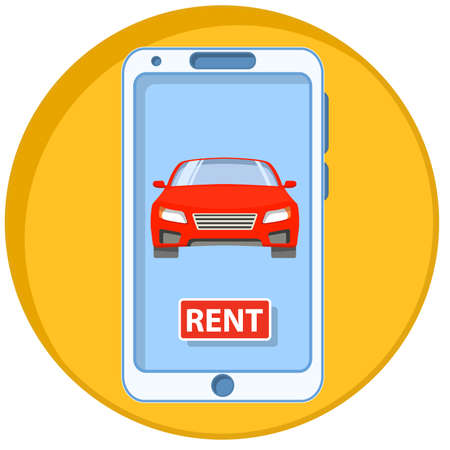 Mobile phone icon. The smartphone with mobile a application online car rent.