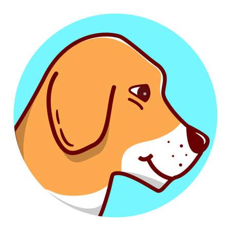 Dog beagle. Cartoon character. Pet animal. Isolated on a white background. Ilustração
