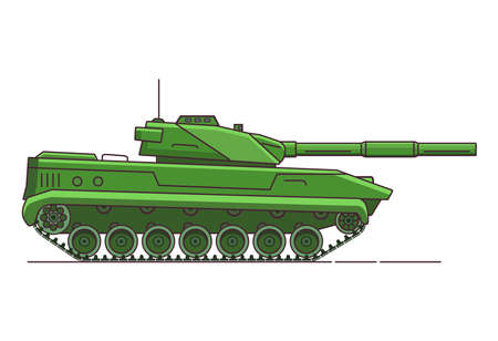 Army tank. Armored vehicle. Military artillery vehicle. Flat line art vector. 向量圖像