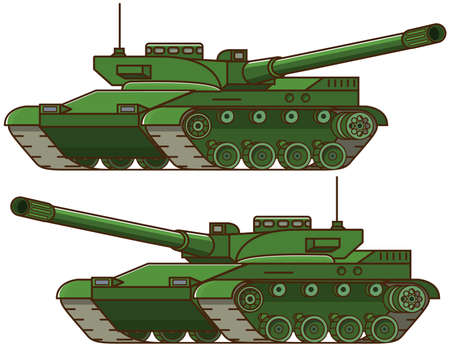 Military tank.Armored army combat vehicle.Artillery cannon. Concept of design of an icon of a military weapon.