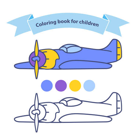 Old military aircraft fighter plane coloring book for children.