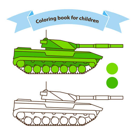 Modern tank military toy coloring book for children.