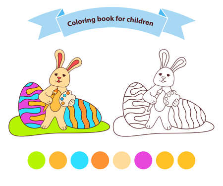 Bunny Easter eggs. Isolated on white background. Hare cartoon character.