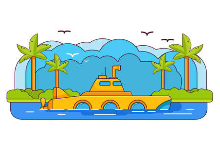 Yellow submarine.Sea adventure trip. Underwater ship.Flat line art vector. Window and periscope.Cartoon bathyscaphe icon.