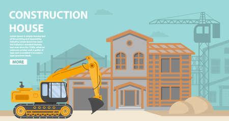 Construction site.Residential building a brick,wooden apartment house.Construction equipment crane.Home facade garage car.