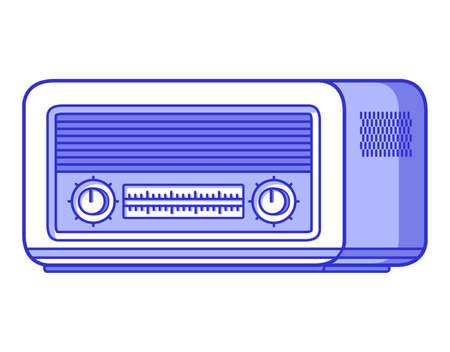 Old radio. Retro vintage technology. Musical player. Иллюстрация