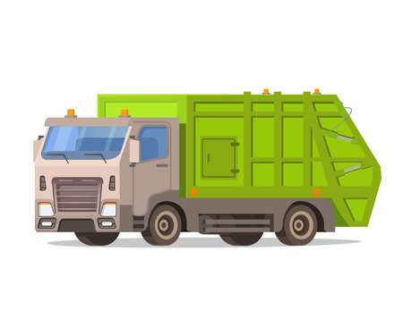 Garbage truck isolated on white background. Waste vehicle front .Urban sanitary loader truck.