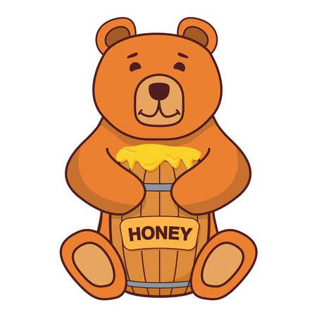 Brown bear honey . Flat illustration vector . A concept for children s books. Çizim